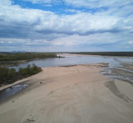 View of the Vistula looking north towards Warsaw. The water level is very low.